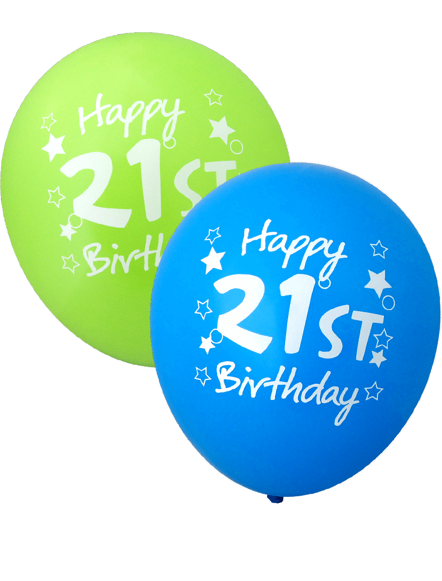 Happy 21st Birthday Balloons 30cm Assorted Colours 12pk 1806