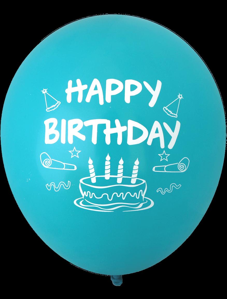 Happy Birthday Cake Balloons 30cm Assorted Colours 12pk 1833