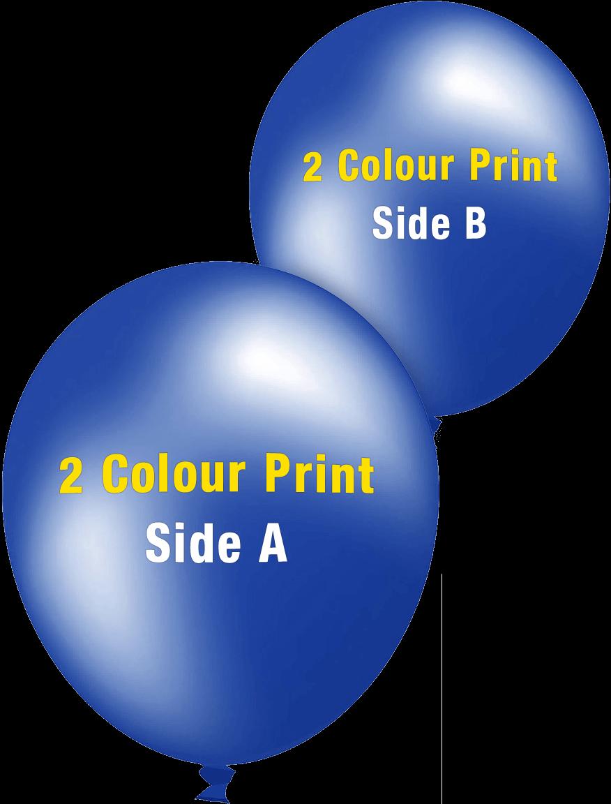 Custom Printed Balloons 30cm Metallic 2 Colour Print Sides 30222