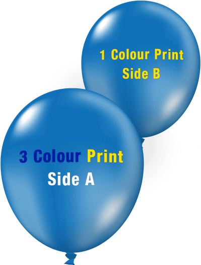 Custom Printed Balloons (30cm Crystal, 3 Colour Print on Front, 1 Colour Print on Back)
