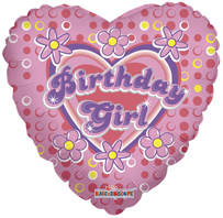 Birthday Girl Heart Shaped Foil Balloon (45cm, single pk)