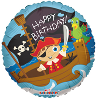 Pirate Boy Happy Birthday Foil Balloon (45cm, single pk)