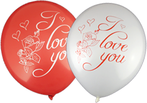 'I love You' Balloons (30cm, Mixed Red and White, 12pk)