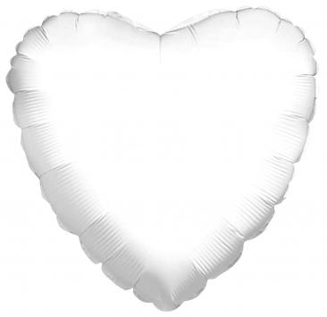 Heart Shaped White Foil Balloon (45cm)