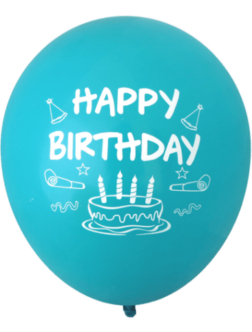 Happy Birthday Cake Balloons (30cm, Assorted Colours, 12pk)