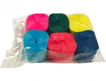 Crepe Streamer, 35mmx13m, Assorted, 6pk