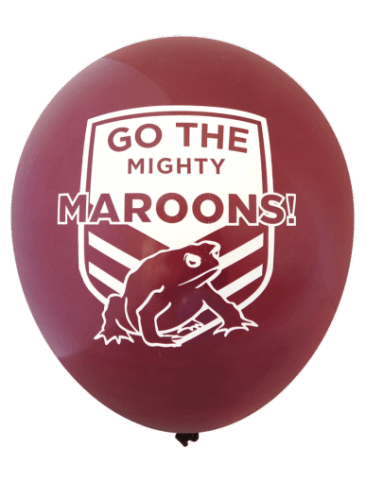 QLD State of Origin, 'Go The Mighty Maroons' Balloons (30cm, 25pk)