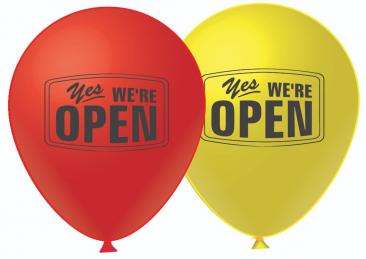We Are Open Balloons (30cm, 2 Side Print, 50pk)